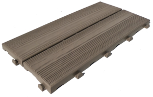 Easywood modular recycled plastic tile with wood effect cappuccino
